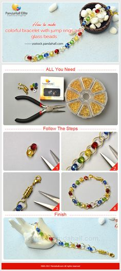 PandaHall Elite Craft idea on how to make colorful bracelet with jump rings and glass beads #pandahallelite #craft #handmadebracelet #diybracelet #bracelet #glassbeads #jumprings