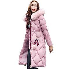 9256a089b25 Big Fur Winter Coat Thickened Parka Women Stitching Slim Long Winter Coat  Down Cotton Ladies Down Parka Down Jacket Women