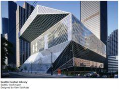 Fachada de la biblioteca de Seattle, Washington