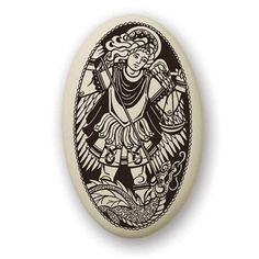 St Michael Porcelain Medal on Braided Cord | Patron Saint of Police, Soldiers and all Protectors