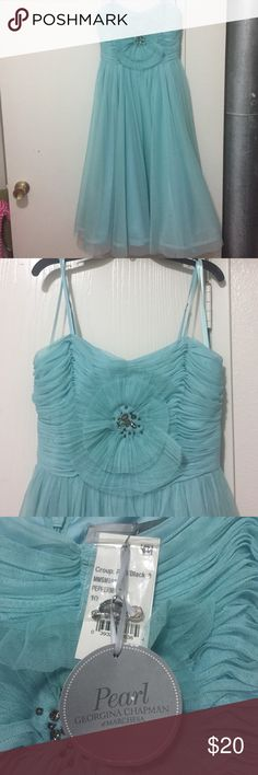 Gorgeous Tea Length Marchesa Dress Beautiful NWT Georgina Chapman of Marchesa turquoise dress. Polyester, fully lined. With adjustable straps. Marchesa Dresses Prom