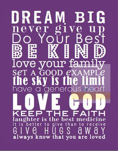 DREAM BIG Be Kind Nursery Subway Wall Art Print  by iloveitall, $32.00