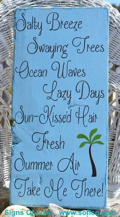 Beach Wood Signs Nautical Wood House Decor Coastal Wall Art Salty Breeze Rustic Blue Wooden Distressed Palm Tree Painted Teen Room Gifts Summer Quotes - Signs Of Love - Carova Beach