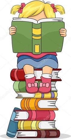 Descargar - Niña niño leyendo un libro sentado en la pila de libros — Imagen de stock #27648345