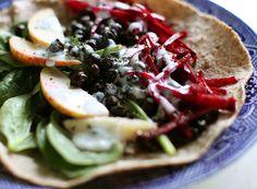 Black Chickpea Wraps with Tarragon Yogurt