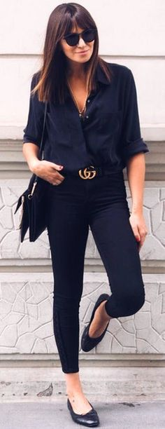 #spring #summer #street #style #outfitideas | Navy + Black