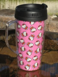 The cat's Meow    Travel Mug 16 oz with Handle  by ecofroggy, $9.50