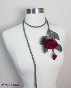 Items similar to Sale-Sale-Unique Crochet Pewter Gray Boysen Berry Rose Lariat/ Necklace on Etsy Unique Crochet, Cute Crochet, Crochet Hooks, Crochet Flower Scarf, Crochet Flowers, Crochet Waffle Stitch, Hand Embroidery Videos, Hand Knit Scarf, Crochet Collar