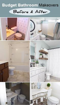 Budget Bathrooms Makeovers : Before & After • Check out these amazing bathroom makeovers done on a budget!