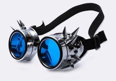Cyberpunk Spiked Goggles These icy blue goggles are 100% guaranteed to turn any nerd into a bad-ass. Get on with your bad self!