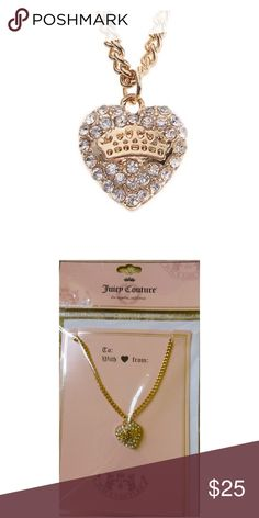 "LAST‼️ NWT JUICY COUTURE Crystal Heart Necklace NWT JUICY COUTURE gold tone crystal heart pendant necklace on pink Juicy Couture Gift card w/envelope will be a perfect gift for you or someone special!  *18"" length w/3"" extender *lobster claw clasp *Pendant 5/8"" x 5/8"" *Bundle Discounts * No Trades * Smoke free Juicy Couture Jewelry Necklaces"