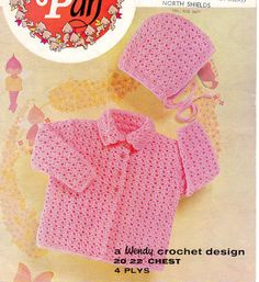 Vintage baby crochet jacket and hat pattern 4 ply wool size 20-22 inch chest
