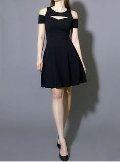 Black as Night Cold Shoulder Dress from ShopPlasticland.com