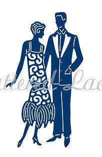 Tattered Lace Die Charleston Couple by PNWCrafts on Etsy