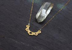 Lotus Moon Phase Necklace / raw crystal brass pendant / Handmade
