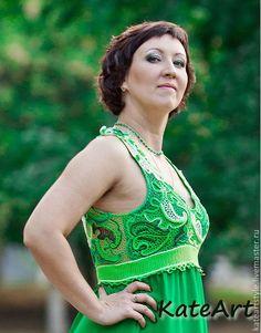 Купить Платье вязаное в технике ирландского кружева Малахит - зеленый, абстрактный, платье вязаное