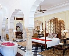 A mahārāja's mansion is the surreal setting for Samode Palace boutique hotel near Jaipur, in rural Rajasthan.