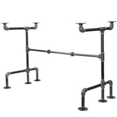 Pipe Decor 1/2 in. x 5 ft. L Black Pipe Corner Wall Mounted Clothing Rack Kit-365 PDFMW20 - The Home Depot Coffee Table Kit, Coffee Table Design, Pipe Furniture, Vintage Furniture, Furniture Ideas, Office Furniture, Furniture Design, Industrial Pipe Desk, Industrial Furniture