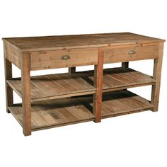 Rustic Wood Kitchen Island