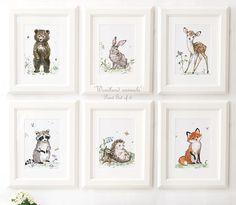 Woodland Nursery Art, Woodland Animals Print Set of 6 ,Bear , Raccoon , Bunny Print, Deer, wildlife nursery art