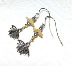 Bee earrings silver bee charm earrings dangle by crushedcameo