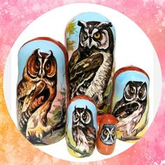 Owls 5-Piece Portrait Russian Nesting Doll -Set 3 #babushka #matryoshka #nesteddoll #lacquerbox #dollindoll #Russiantoy #nestingdoll #Russiandoll #Russianbox #babooshkadoll #Woodendolls #nestingdolls #Russiangifts #stackingdoll Russian Babushka, Unique Gifts For Kids, Matryoshka Doll, Doll Set, Wooden Dolls, Pet Portraits, Owls, Hand Painted, Free Shipping
