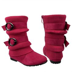 Kids Mid Calf Boots Ruched Knitted Buckle Straps