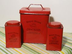 Beautiful old red tins