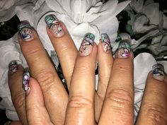 Green pink nails with one stroke art flowers with gem accents gel nails. Art Flowers, Flower Art, Pink Nails, Gel Nails, One Stroke, Class Ring, Gems, Jewelry, Nail Gel