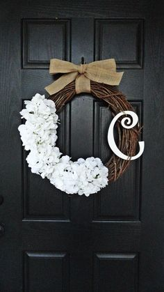 Personalized Rustic White Hydrangea Wreath by AnnabelleEveDesigns, $60.00 wreath for the front door