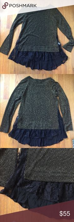 Lace Layered Sparkly Sweater - Karen Kane (Macy's) Gold sparkly knit sweater, layered lace hem. Long sleeve, never been worn or washed, however there are no tags. Received as a gift last Christmas but have never found the time to wear. Karen Kane Sweaters Crew & Scoop Necks
