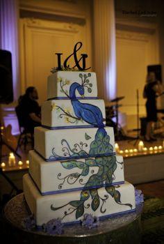 Peacock Themed Wedding Cake