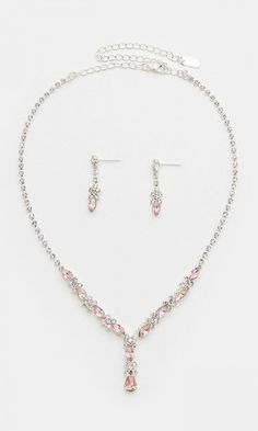 Crystal Elianna Necklace in Soft Rose//