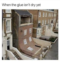 House in Margate with a facade that's slipped down by Alex Chinneck - Architecture Architecture Cool, Unusual Buildings, Funny Pictures With Captions, Unusual Homes, Installation Art, Street Art, Brick, Funny Memes, Hilarious