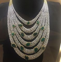 diamond and emerald layered necklace by @khannajewellers