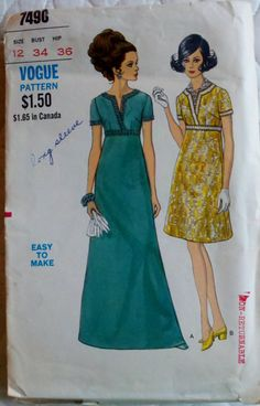 1960s Vintage Sewing Pattern Womens Formal Dress in Cocktail or Evening Length Vogue 7490 Bust 34""