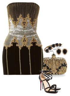 Turns Out. by foreverforbiddenromancefashion on Polyvore featuring polyvore fashion style Balmain Agent Provocateur Christian Louboutin Alexander McQueen Gucci Snö Of Sweden clothing