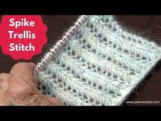 Very easy lace . 2 easy rows only : CO multiples of 4 . ROW1: *K2, YO sl1 pw, K1, psso * . ROW2: * P2 , YO, P2T (purl 2 together) * - beautiful reversible Knitting Spike Trellis Stitch - YouTube