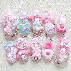 Sanrio nail art by nailshop. Acrylic Nail Art, 3d Nail Art, Nail Art Hacks, 3d Nails, Pastel Nails, Kawaii Nail Art, Cute Nail Art, Art Deco Nails, Hello Kitty Nails