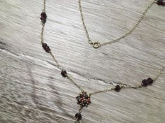 Vintage Gold Chain Necklace with Garnet Gemstone Beads, Long Gemstone Necklace 10k Yellow Gold Chain, 16 inch Strand Beads, Gift for Her Additional item details available upon inquiry. Please message me if you have any questions!  - Items have been evaluated by a professional