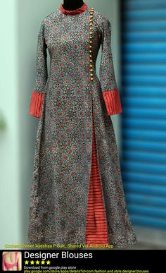 Buy Maati Crafts Multicolored Cotton Printed Angrakha Anarkali Kurti online in India at best price. a stunning mughal styled high collar dress in ajrakh print & fabric potli buttons! black as a natura Salwar Designs, Kurta Designs Women, Kurti Neck Designs, Blouse Designs, Printed Kurti Designs, Abaya Fashion, Indian Fashion, Fashion Dresses, Abaya Mode