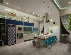 Cozinha com azul