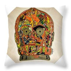 "$27 C3po Star Wars Afrofuturist Collection Throw Pillow by Apanaki Temitayo M.  Our throw pillows are made from 100% spun polyester poplin fabric and add a stylish statement to any room.  Pillows are available in sizes from 14"" x 14"" up to 26"" x 26"".  Each pillow is printed on both sides (same image) and includes a concealed zipper and removable insert (if selected) for easy cleaning."