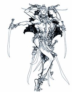 I was asked to do Spiral - the classic villain from the X-men books. I ended up using Kali, a four armed Hindu goddess, as inspiration.