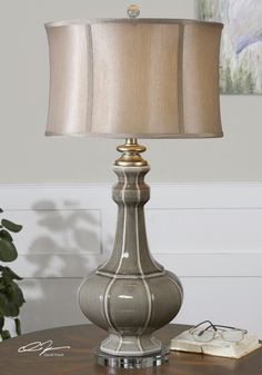 Table Lamp w/ Modified Drum Shade in Champagne Bronze belongs to Racimo Collection by Uttermost Grey Table Lamps, Buffet Lamps, Ceramic Table Lamps, Table Lamp Sets, Rustic Mirrors, Rustic Wall Decor, Barn Wood Picture Frames, Bedroom Lamps, Master Bedroom