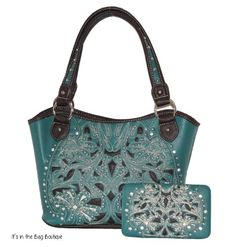 Montana West - Concealed Carry Purse with Matching Wallet - Inlaid Floral Design - Turquoise - best concealed carry purse - affordable concealed carry handbag with bling and rhinestones - I'd just have to get used to carrying my purse on my left shoulder
