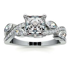Fit for a princess: Treat your beloved to a stunning piece that sparkles with exquisite diamond beauty... Pop the question with the Twisted Petal Diamond Engagement Ring in sleek, durable Platinum, featuring a Princess-cut diamond center!  http://www.brilliance.com/engagement-rings/twisted-petal-diamond-ring-platinum