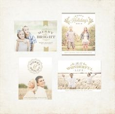 Holiday Greeting Card Collection - INSTANT DOWNLOAD - Photoshop Templates for Photographers