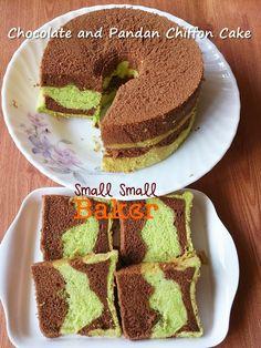 Small Small Baker: Chiffon Cake #19: Chocolate & Pandan 双色巧克力斑兰戚风蛋糕