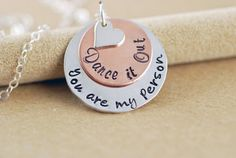 Hand Stamped Necklace -Grey's Anatomy Inspired - You Are My Person, Valentines Day Gift